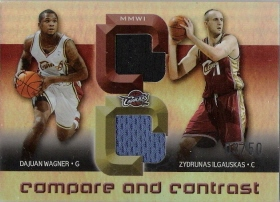 2005-06 Reflections Compare and Contrast Quad Jerseys Cuttino/B.Miller/Wagner/Ilgauskas #ed to 50